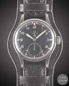 """A GENTLEMAN'S STAINLESS STEEL BRITISH MILITARY OMEGA W.W.W. WRIST WATCH CIRCA 1945, PART OF THE """""""