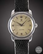 A GENTLEMAN'S STAINLESS STEEL OMEGA SEAMASTERWRIST WATCH CIRCA 1954, WITH QUARTERLY ARABIC