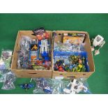 Two boxes of 1980's/1990's plastic character toys to include: Transformers, Thundercats, Turtles,