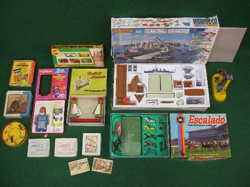 Quantity of boxed toys and games to include: Matchbox Seakings Harbour play set,