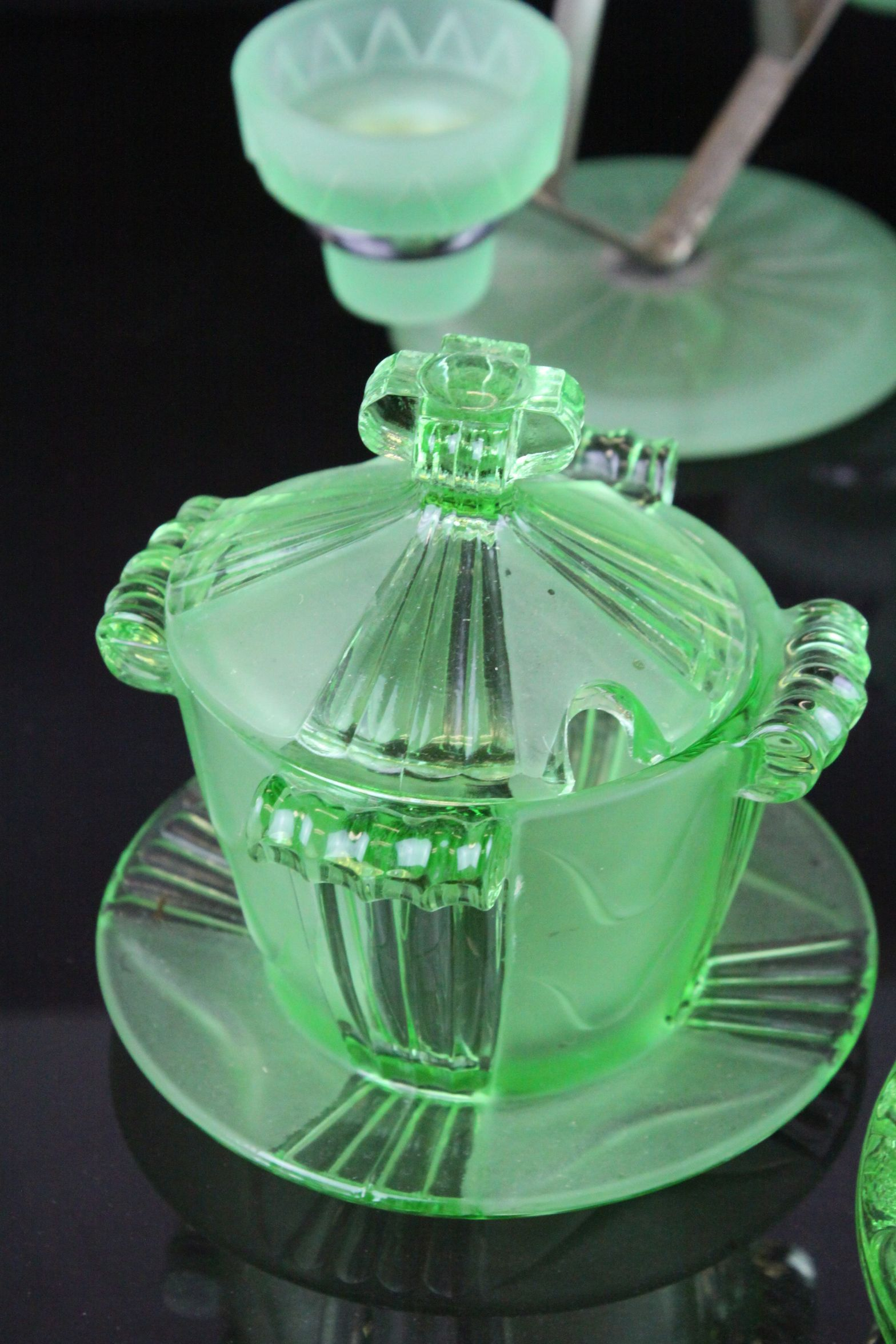 Lot 163 - Mid 20th century Pressed Glass including Uranium Glass Candlestick and Candleholders, Flower Frog in