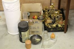 Mixed Lot including a Ceramic Stick Stand, Pair of Gold Painted Wooden Brackets, Pair of Gilt