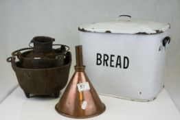 Mid 20th century White Enamel Bread Bin together with a Copper Funnel