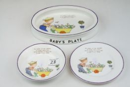 Shelley ' Mabel Lucie Attwell ' Baby's Plate together with a Bowl and Plate