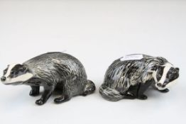 Two Beswick Badgers, male model no. 3393 and female model no. 3394