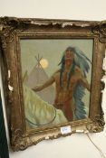 Oil Painting on Board of a Native American on Horseback, monogrammed signature bottom left and label