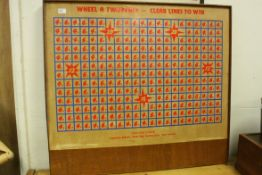 Mid 20th century Wooden Amusement / Charity Game Board ' Wheel A Twopence - Clear Lines to Win '