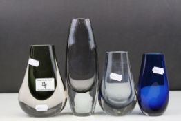 Three Whitefriars Smokey Glass Vases, tallest 20cms high together with a Studio Blue Glass Vase