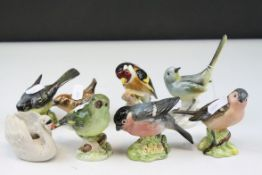 Six Beswick Birds together with a Goebel Swan Candleholder and another Ceramic Bird