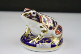 Royal Crown Derby Frog Paperweight with gold stopper, 7.5cms high