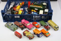 Crate of Playworn Vehicles including Dinky Lorries, Timpo Toys, etc