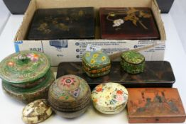Collection of Fifteen Papier Mache Boxes including Kirby, Beard & Co ' Scientific Hair Pins ' Box