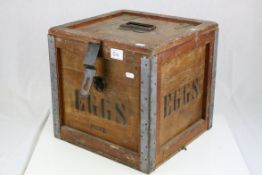 Early to Mid 20th century Wooden ' Eggs ' Transportation Box, 36cms wide x 35cms high