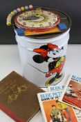 Large Vintage Disney World Mini Mouse Tin containing Blue Peter Books and a Wooden Time Learning