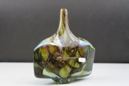 Mdina Glass Axe or Fish Vase with internal brown veins on a yellow / green ground, signed and