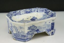19th Century blue and white Spode dogs food bowl
