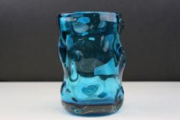 Whitefriars Knobbly Glass Vase in Kingfisher Blue, 17cms high