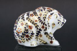 Royal Crown Derby Rocky Mountain Bear Paperweight with silver stopper, 9cms high