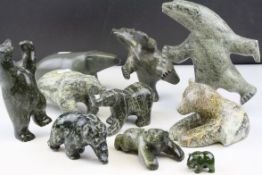 Collection of Ten Inuit Polished Stone / Soapstone Models of Polar Bears, some with Canadian