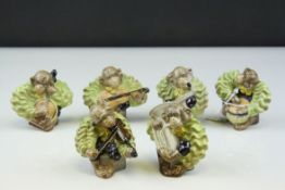 Set of Six Beswick Monkey Band Members including Drum - model no. 1255, Tuba - model no. 1256,