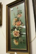 19th century Oil on Tin Botanical Study of Roses and Fauna