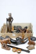 Collection of African Carved Wooden Animals and Figures plus a Wooden Cribbage Board, etc
