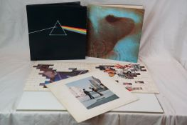 Vinyl - Four Pink Floyd LPs to include Dark Side of The Moon on Harvest SHVL804 stereo, Meddle on