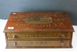 Early 20th century Haberdashery Advertising ' Kerr & Co N.M.T ' Sewing Cotton Cabinet of Two