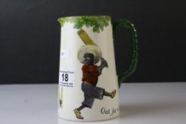 Royal Doulton Black Cricketers Seriesware Jug titled ' Out for a duck ' 14.5cms high