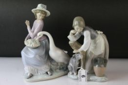Two Lladro Figures, Caress and Rest, model no. 1245, 21cms high and a Seated Girl holding Flower