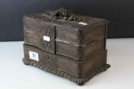 Late 19th / Early 20th century Black Forest Style Carved Jewellery Box, the lift lid opening to