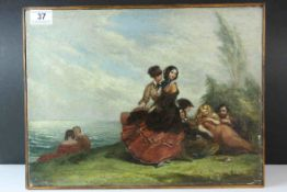 Oil on Canvas depicting 19th century Figures near the Water's Edge, 30cms x 40cms