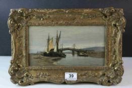 Charles Thornley (fl 1859 - 1885), Oil on Panel, Sailing Boats by Bridge in Estuary, signed lower