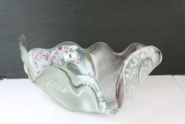 Contemporary Free Form Glass Bowl, one off design with coloured swirling pattern, 43cms long