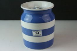 Large T G Green Cornishware Lidded Storage Jar, 18cms high