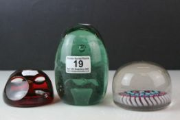 Three Glass Paperweights including Milliefiori, Victorian Glass Dump and a Baccarat Style Dragonfly