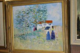 Contemporary Oil Painting on Canvas depicting Ladies in a Summer Field near a Cottage, 50cms x