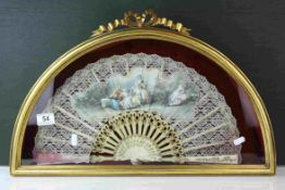 Late 19th / Early 20th century French Needle Lace Fan mounted on ivory sticks with gilded