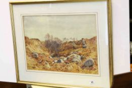 Herbert Moxon Cook (1844 - 1928), 19th century Watercolour ' White Water Burn, Arran ' signed and