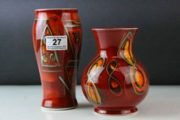 Two Anita Harris Handpainted Trial Vases, both signed Anita Harris to the base in gold pen,