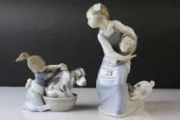 Two Lladro Figures, ' Tug of War ' model no. 4982 and ' Bashful Bather ' model no. 5455, tallest