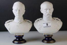Two KPM Parian Ware Bust, both on blue glazed porcelain plinths, 19cms high