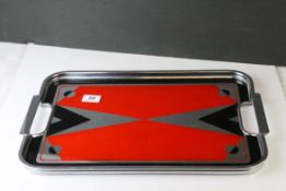 Art Deco Chrome Serving Tray, the glass mirrored panel with a red and black geometric design,