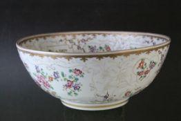 Chinese Export Famille Rose Porcelain Bowl, with floral enamel decoration, 25cms diameter