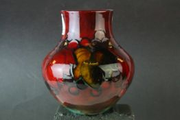 Moorcroft Flambe Leaf and Berry Pattern Vase, 13cms high