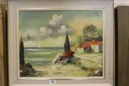 Oil Painting on Canvas of a Mediterranean Coastal Scene signed Alvarado, 39cms x 49cms, framed