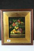 Oil on Panel, a framed Still Life of Fruit and Fauna on a Ledge
