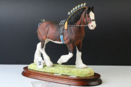 Border Fine Arts Sculpture ' Champions of Champions Clydesdale Stallion ' on Wooden Plinth,