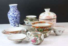 Collection of mainly Oriental Ceramics including Chinese Blue and White Vase with four character