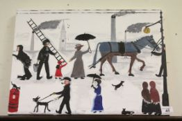 Oil Painting on Canvas depicting a Street Scene including Mary Poppins ?, 40cms x 56cms